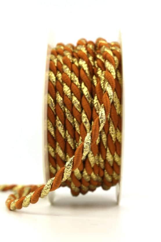 Kordel, 2-farbig zimt-gold, 6 mm stark - kordeln, andere-baender