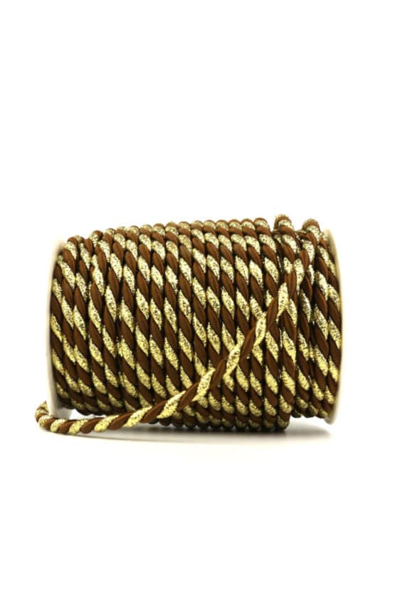 Kordel, 2-farbig braun-gold, 6 mm stark - kordeln, andere-baender