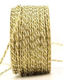 Kordel, 2-farbig creme-gold, 2 mm stark - kordeln, andere-baender