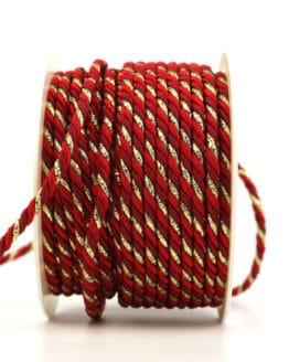 Kordel, 3-farbig rot-bordeaux-gold, 4 mm stark - kordeln, andere-baender