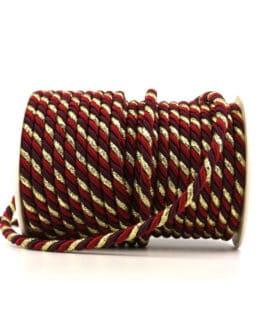 Kordel, 3-farbig rot-bordeaux-gold, 6 mm stark - kordeln, andere-baender