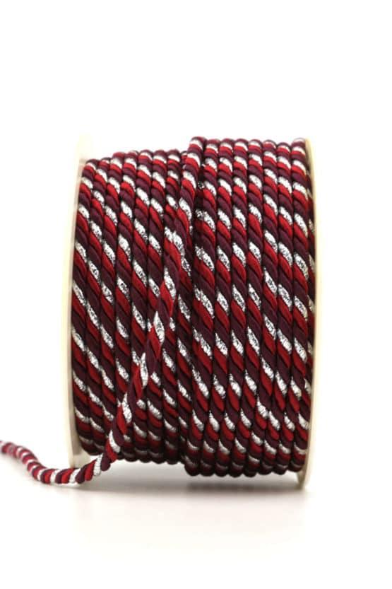 Kordel, 3-farbig rot-bordeaux-silber, 4 mm stark - kordeln, andere-baender