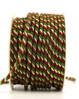 Kordel, 3-farbig rot-grün-gold, 4 mm stark - kordeln, andere-baender