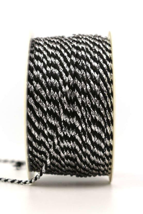 Kordel, 2-farbig schwarz-silber, 2 mm stark - kordeln, andere-baender