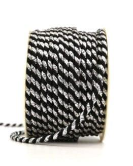Kordel, 2-farbig schwarz-silber, 4 mm stark - kordeln, andere-baender