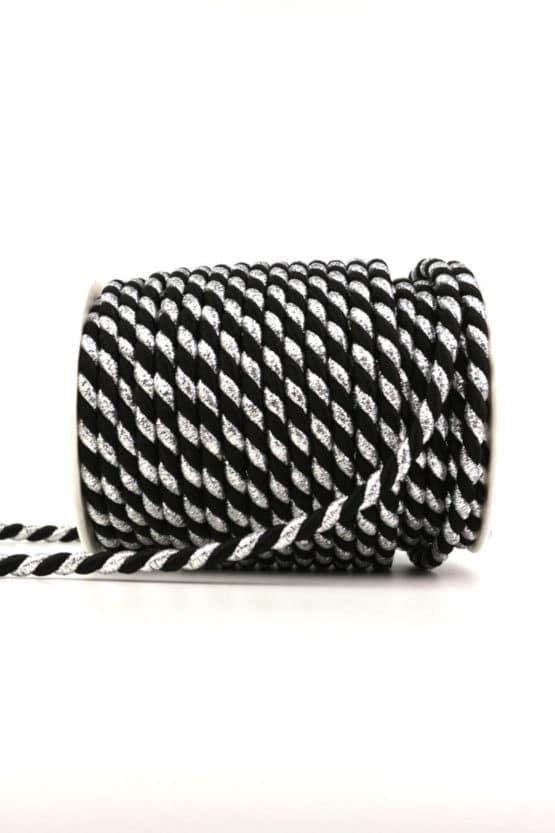 Kordel, 2-farbig schwarz-silber, 6 mm stark - kordeln, andere-baender