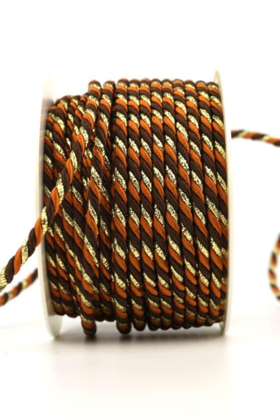 Kordel, 3-farbig terra-braun-gold, 4 mm stark - kordeln, andere-baender