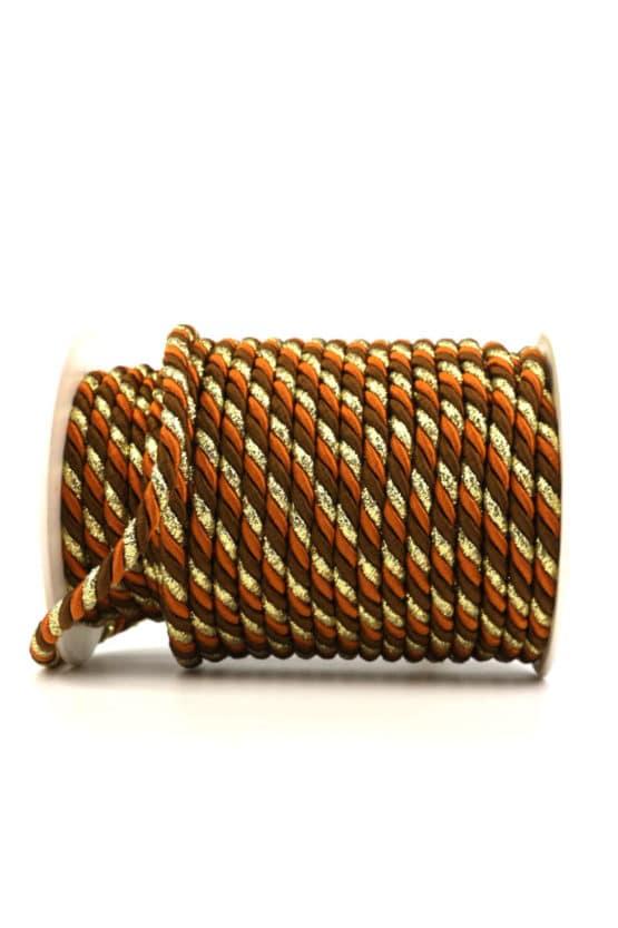 Kordel, 3-farbig terra-braun-gold, 6 mm stark - kordeln, andere-baender