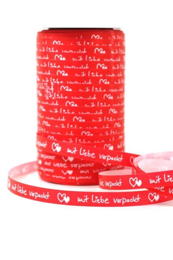 Poly-Ringelband (Kräuselband) 10 mm, mit Liebe verpackt - polyband, outdoor-bander, geschenkband, geschenkband-mit-herzen, geschenkband-fuer-anlaesse