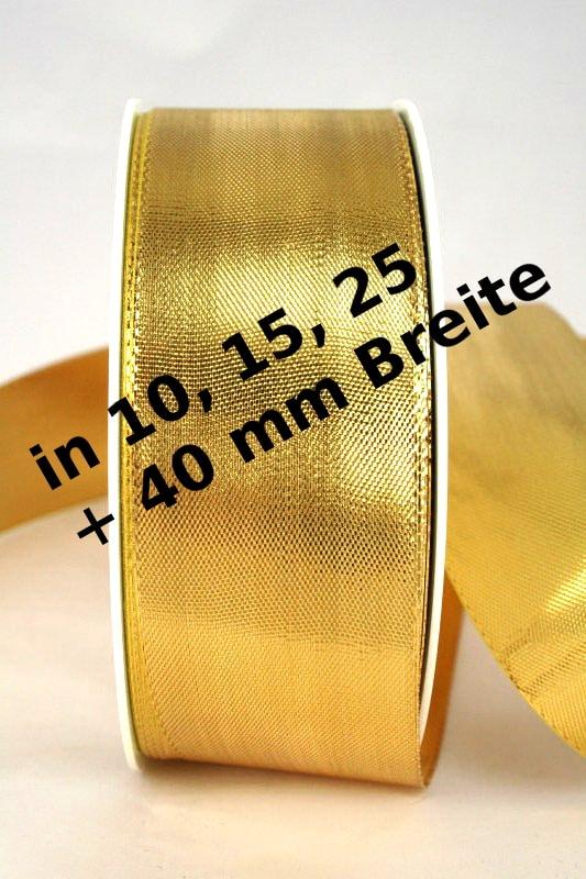 Lamé - Band gold in 10, 15, 25 und 40 mm, ohne Drahtkante - weihnachtsband, geschenkband-weihnachten-einfarbig, geschenkband-weihnachten-dauersortiment, geschenkband-weihnachten