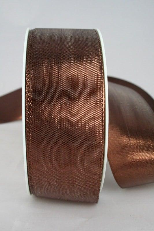 Lamé - Band kupfer in 10, 15, 25 und 40 mm, ohne Drahtkante - weihnachtsband, geschenkband-weihnachten-einfarbig, geschenkband-weihnachten-dauersortiment, geschenkband-weihnachten