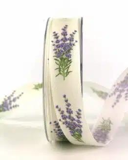 Dekoband Lavendel, 25 mm breit - geschenkband, geschenkband-gemustert, dekoband