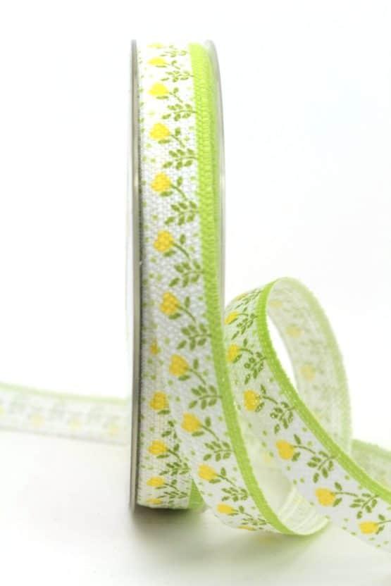 Leinenband mit gelben Blumen, 15 mm breit - geschenkband-gemustert, dekoband