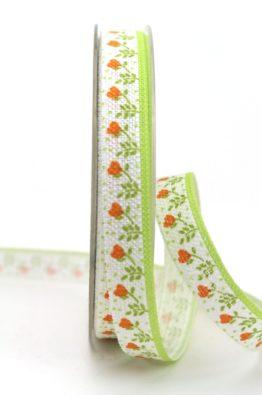 Leinenband Blumen gruen-orange 15mm (800971504020)
