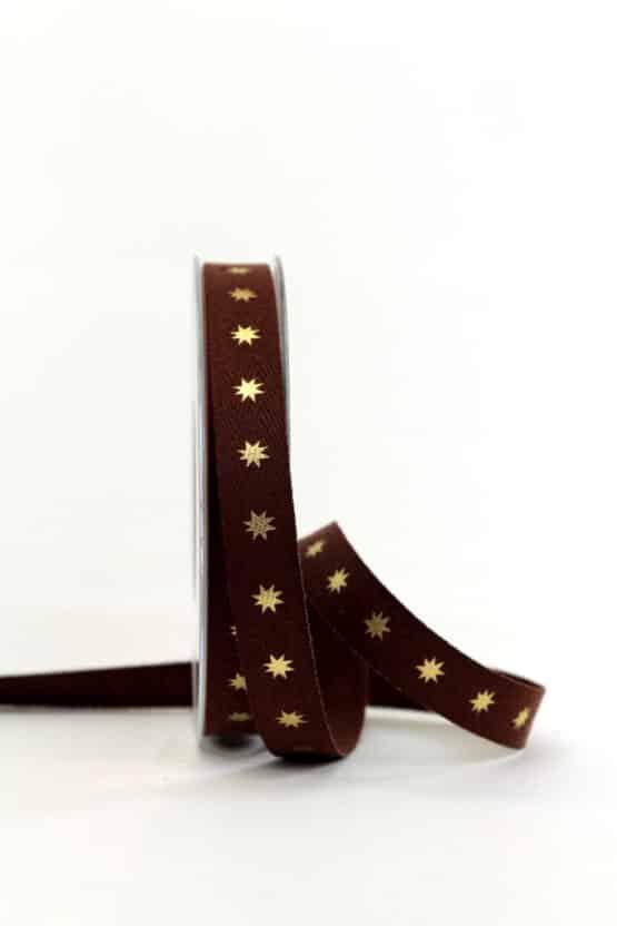 Leinenband braun mit goldenen Sternen, 15 mm breit - geschenkband-weihnachten-gemustert, geschenkband-weihnachten
