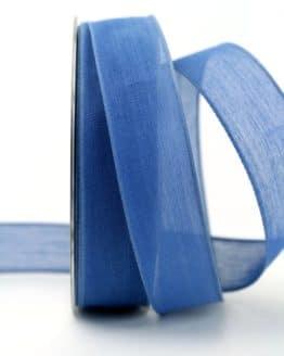 Leinenband jeansblau, 25 mm, mit Draht - geschenkband-einfarbig, dekoband, dekoband-mit-drahtkante