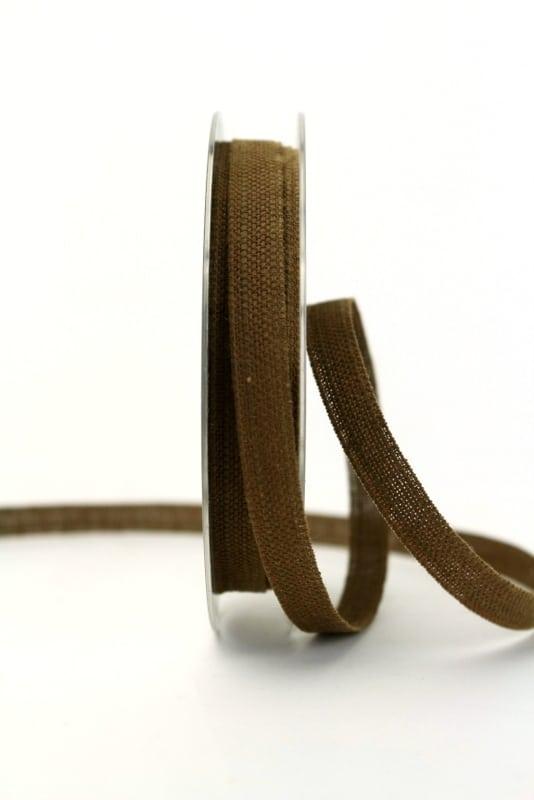Leinenband braun, 10 mm - geschenkband, geschenkband-einfarbig, dekoband