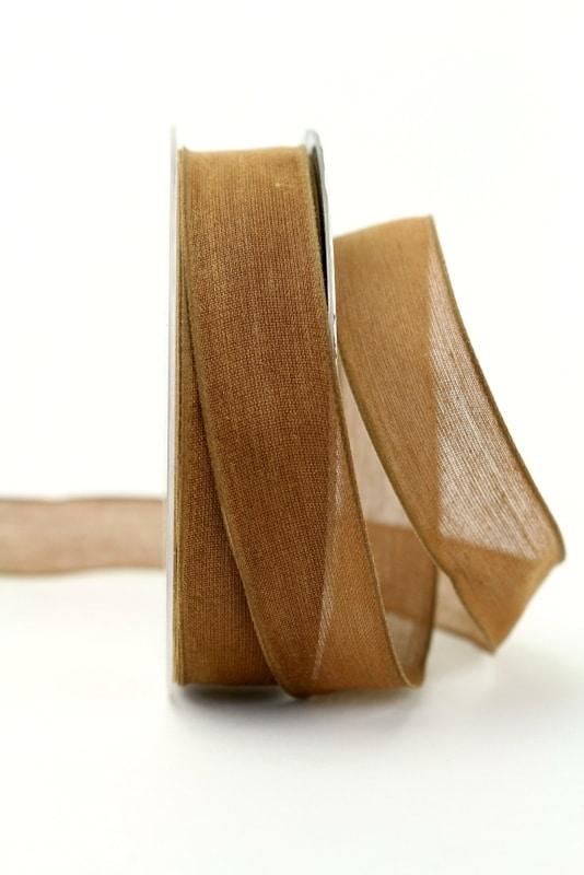 Leinenband braun, 25 mm, mit Draht - geschenkband-einfarbig, dekoband, dekoband-mit-drahtkante