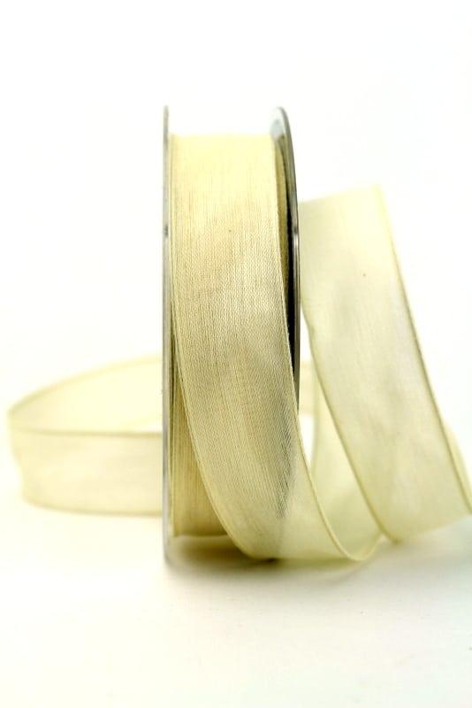 Leinenband creme, 25 mm, mit Draht - geschenkband-einfarbig, dekoband, dekoband-mit-drahtkante