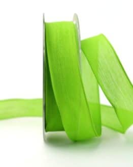 Leinenband hellgrün, 25 mm, mit Draht - geschenkband-einfarbig, dekoband, dekoband-mit-drahtkante