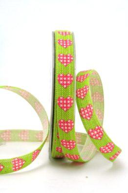 Leinenband grün mit Herzen (89987-15-551)