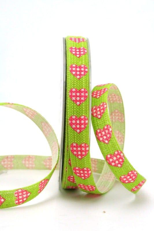Leinenband grün mit Herzen, 15 mm breit - valentinstag, sonderangebot, muttertag, anlasse, 20-rabatt