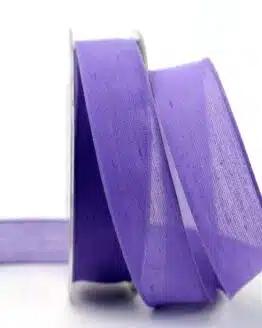 Leinenband lila, 25 mm, mit Draht - geschenkband-einfarbig, dekoband, dekoband-mit-drahtkante