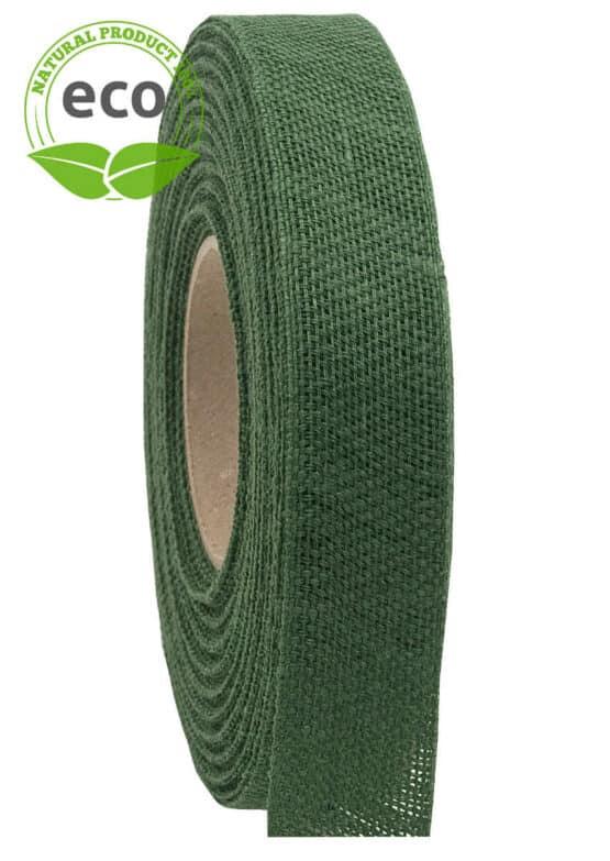 Nature Basic Leinenband, dunkelgrün, 25 mm breit, ECO - kompostierbare-geschenkbaender, geschenkband, eco-baender, dekoband