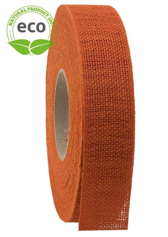 Nature Basic Leinenband, orange, 25 mm breit, ECO - kompostierbare-geschenkbaender, geschenkband, eco-baender, dekoband