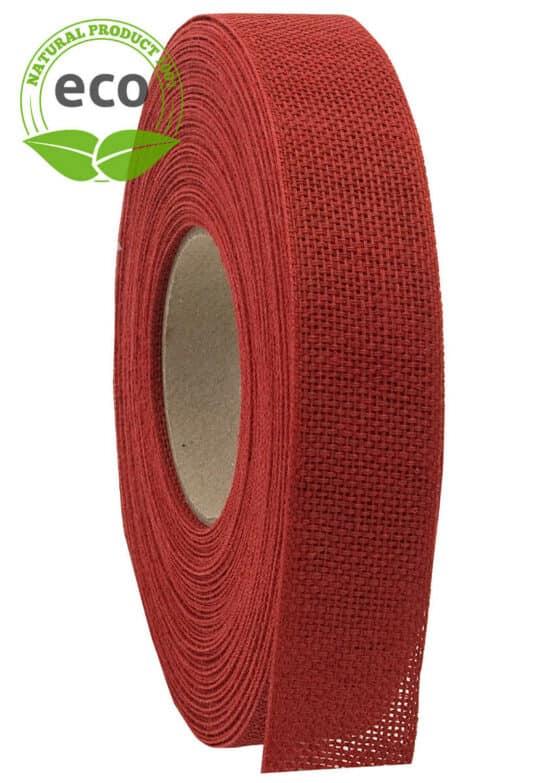 Nature Basic Leinenband, rot, 25 mm breit, ECO - kompostierbare-geschenkbaender, geschenkband, eco-baender, dekoband