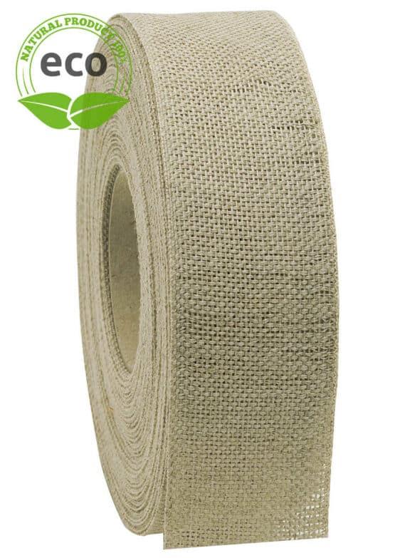 Nature Basic Leinenband, creme, 40 mm breit, ECO - kompostierbare-geschenkbaender, geschenkband, eco-baender, dekoband