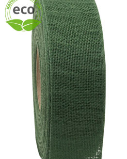 Nature Basic Leinenband, dunkelgrün, 40 mm breit, ECO - kompostierbare-geschenkbaender, geschenkband, eco-baender, dekoband