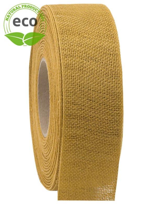 Nature Basic Leinenband, gelb, 40 mm breit, ECO - kompostierbare-geschenkbaender, geschenkband, eco-baender, dekoband