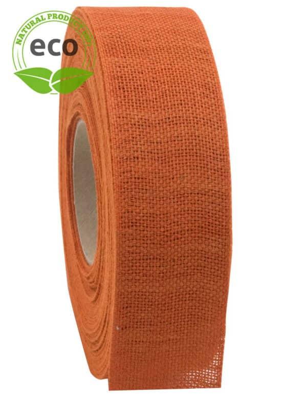 Nature Basic Leinenband, orange, 40 mm breit, ECO - kompostierbare-geschenkbaender, geschenkband, eco-baender, dekoband