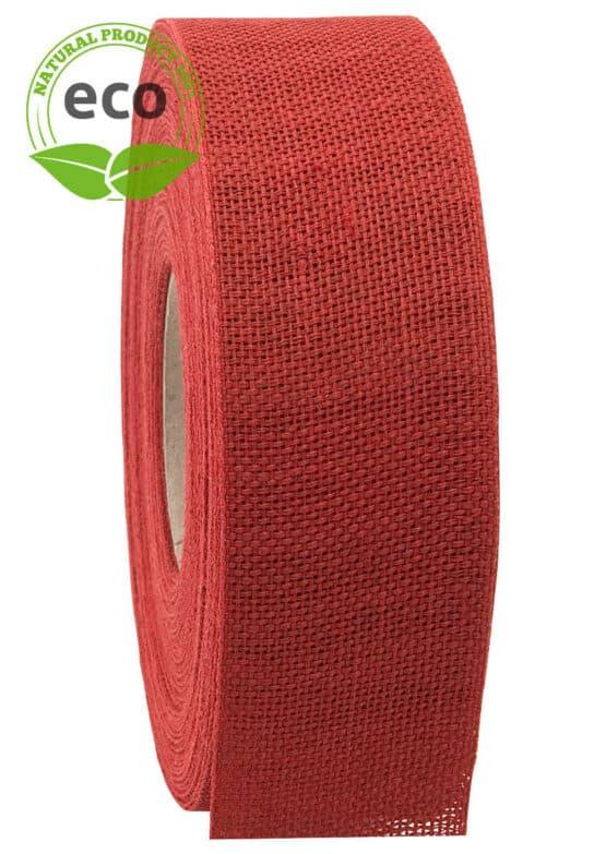 Nature Basic Leinenband, rot, 40 mm breit, ECO - kompostierbare-geschenkbaender, geschenkband, eco-baender, dekoband