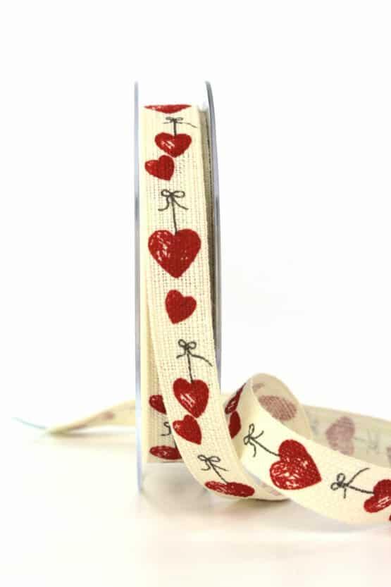 Leinenband mit roten Herzen, 15 mm breit - valentinstag, geschenkband, geschenkband-mit-herzen, geschenkband-gemustert, geschenkband-fuer-anlaesse, anlasse