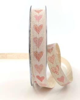 Leinenband mit Herzen, rosa, 15 mm breit - valentinstag, geschenkband, geschenkband-mit-herzen, geschenkband-gemustert, geschenkband-fuer-anlaesse, anlasse