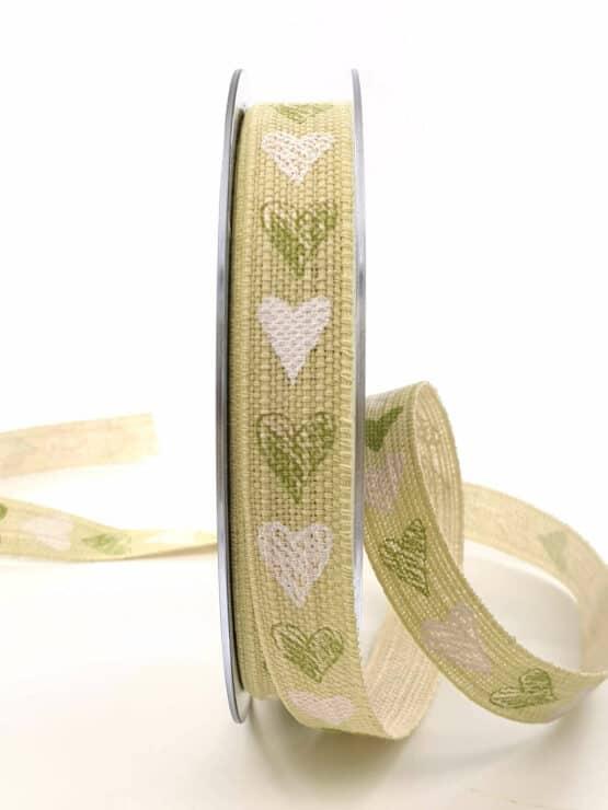 Leinenband mit Herzen, lindgrün, 15 mm breit - valentinstag, geschenkband, geschenkband-mit-herzen, geschenkband-gemustert, geschenkband-fuer-anlaesse, anlasse