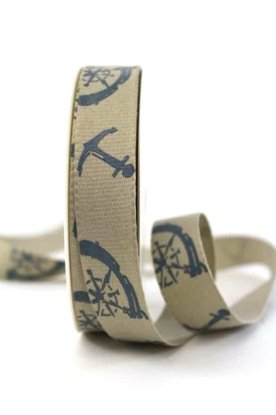 Leinenband Maritim, taupe, 25 mm breit - geschenkband-gemustert