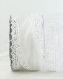 Luxuriöses Dekoband, weiß, 60 mm breit - geschenkband-weihnachten-einfarbig, geschenkband-weihnachten