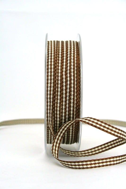Vichy-Karoband braun, 6 mm breit - karoband, geschenkband-kariert