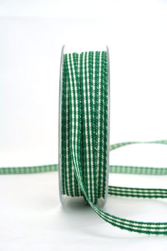 Vichy-Karoband dunkelgrün, 6 mm breit - karoband, geschenkband-kariert