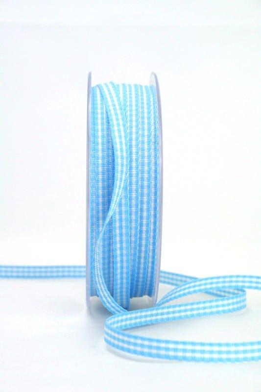 Vichy-Karoband hellblau, 6 mm breit - karoband, geschenkband-kariert