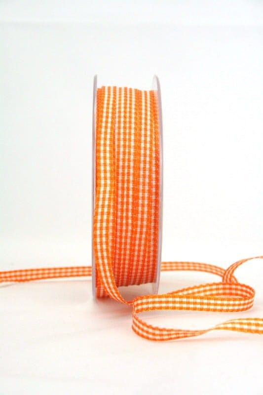 Vichy-Karoband orange, 6 mm breit - karoband, geschenkband-kariert