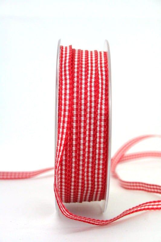 Vichy-Karoband rot, 6 mm breit - valentinstag, muttertag, karoband, geschenkband-kariert, anlasse