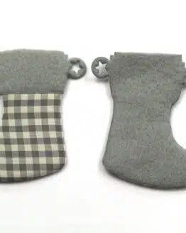 Nikolausstiefel aus Filz, grau-kariert, 52 mm, 24 Stück - geschenkanhaenger, accessoires