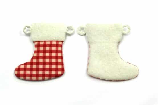 Nikolausstiefel aus Filz, rot-kariert, 52 mm, 24 Stück - geschenkanhaenger, accessoires