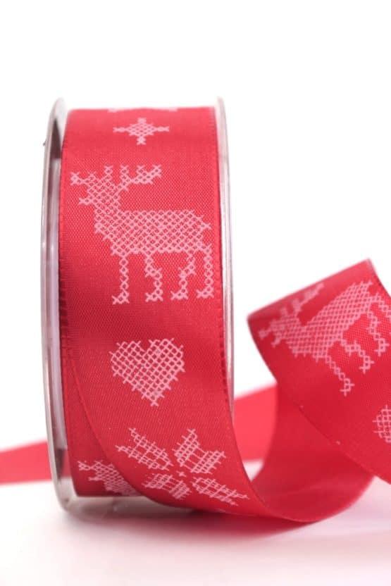 Schleifenband Nordische  Weihnacht, rot-weiss, 40 mm mit Draht - weihnachtsbaender, geschenkband-weihnachten-gemustert, geschenkband-weihnachten
