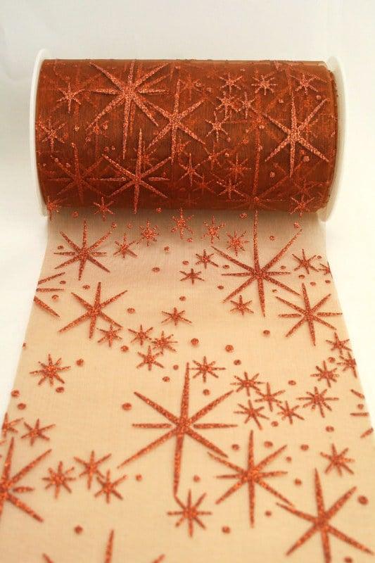 Organza-Tischband mit glitzernden Sternen, kupfer, 125 mm breit - organzaband-weihnachten, geschenkband-weihnachten