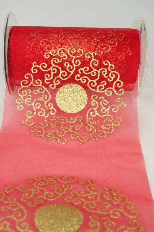 Organza-Tischband mit goldenem Ornament, rot, 150 mm - organzaband-weihnachten, geschenkband-weihnachten